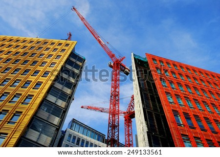 Colorful buildings in central London, England - stock photo