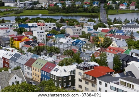 Colorful buildings in downtown Reykjavik, Iceland. - stock photo