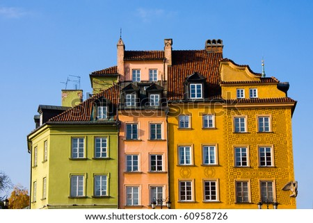 Colorful buildings in Old Town. Warsaw, Poland - stock photo