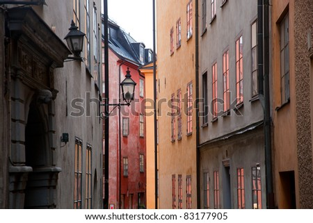 Colorful buildings in the old town of Stockholm, Sweden - stock photo