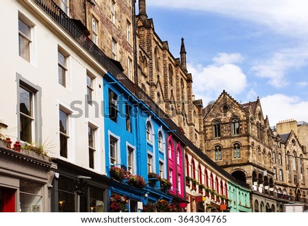 Colorful buildings in Victoria Street, Old Town Edinburgh, Scotland.  - stock photo
