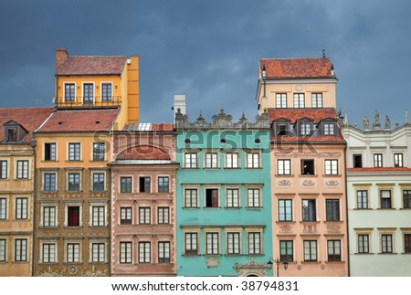 Colorful buildings in Warsaw Old Town. Poland - stock photo