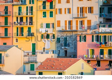Colorful buildings of Cinque Terre - stock photo