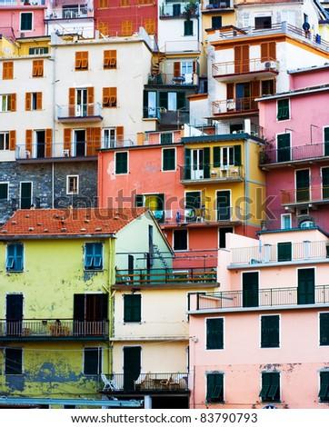 Colorful Buildings of Corniglia village. Cinque Terre, Italy. - stock photo