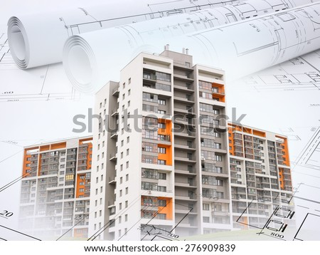 Colorful buildings on abstract background with drafts - stock photo