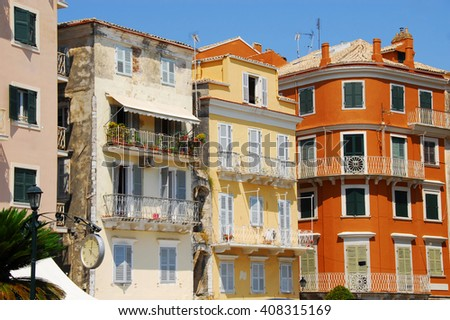 colorful buildings on Greek island Corfu at sunlight