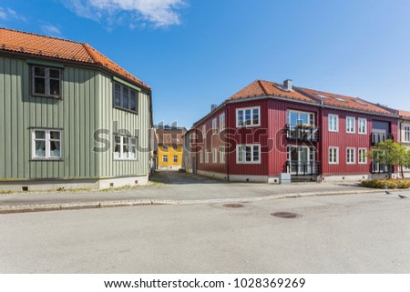 Colorful buildings on streets of Trondheim, Norway. Scandinavian style of architecture.