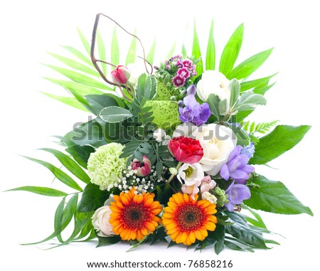 colorful bunch of flowers isolated on white background - stock photo