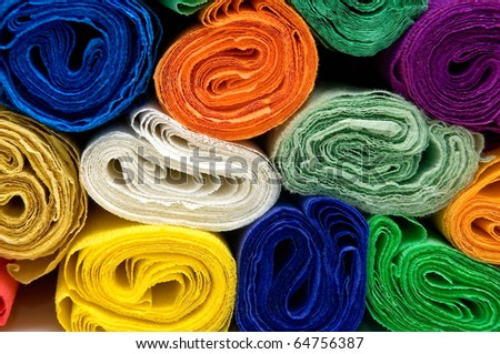 Colorful bundles of crepe papers - stock photo