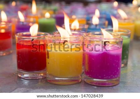 colorful burning candles - stock photo