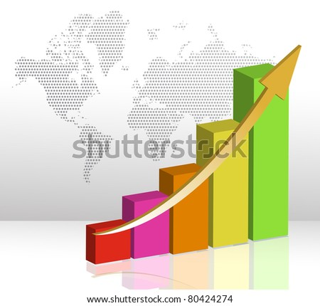 colorful business Bar chart illustration on a white background - stock photo