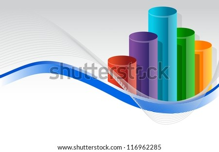 colorful business graph illustration design over white - stock photo