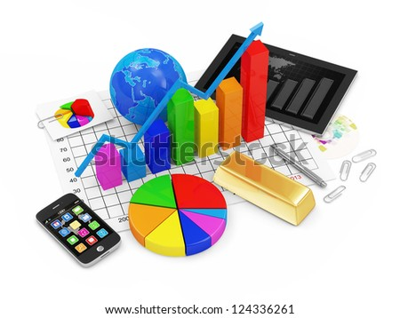 Colorful Business Graph with Pie Chart, Earth Globe, Golden Bar, Tablet PC and Touchscreen Smartphone isolated on white background - stock photo