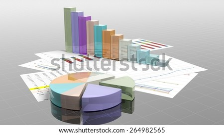 Colorful business pie and bar chart on documents closeup