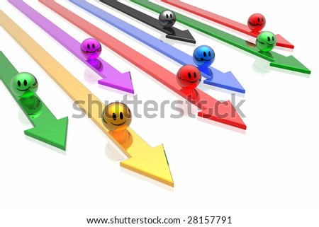 colorful  business teams with arrows - stock photo