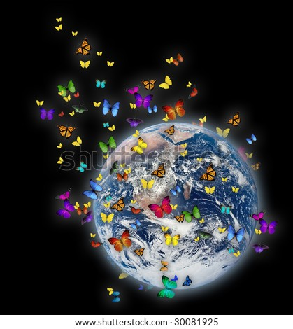 Colorful butterflies flying around a glowing earth - stock photo
