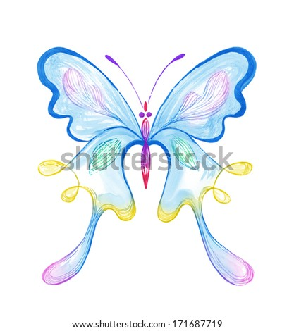 Colorful Butterfly � watercolor painting - stock photo