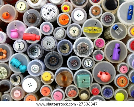 Colorful buttons, haberdashery supplies