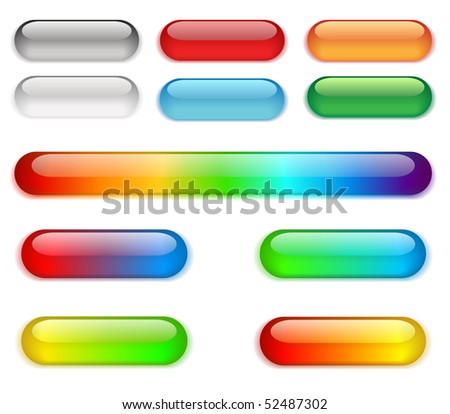 Colorful buttons on a white background. - stock photo