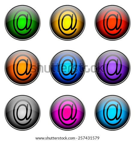 Colorful buttons with different topics. Button Color AT