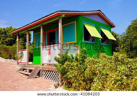 Colorful cabin in Caribbean - stock photo