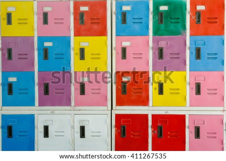 Colorful cabinet lockers background  - stock photo
