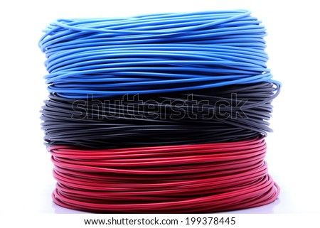 Colorful cable on white background - stock photo