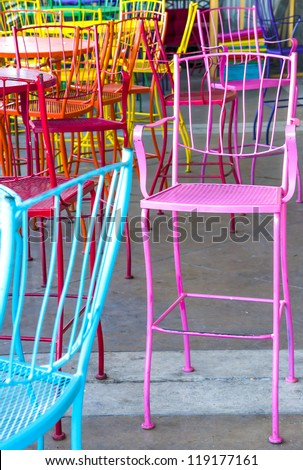 colorful cafe chairs - stock photo