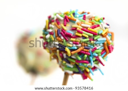 Colorful cake pops, isolated on white - stock photo
