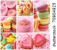 Colorful cakes collage - stock photo