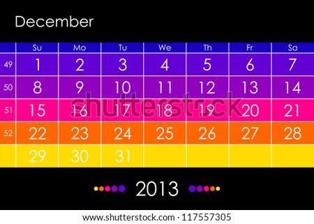 Colorful Calendar 2013 - December - stock photo