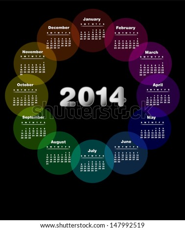 Colorful calendar for 2014. Week starts on sunday - Also available in Spanish . - stock photo
