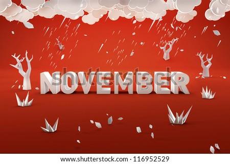 Colorful Calendar. NOVEMBER - stock photo