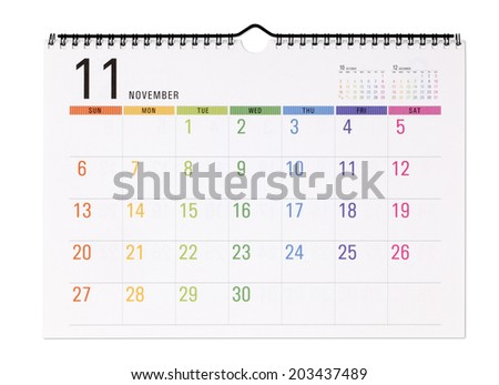 Colorful calendar.with clipping path /November - stock photo
