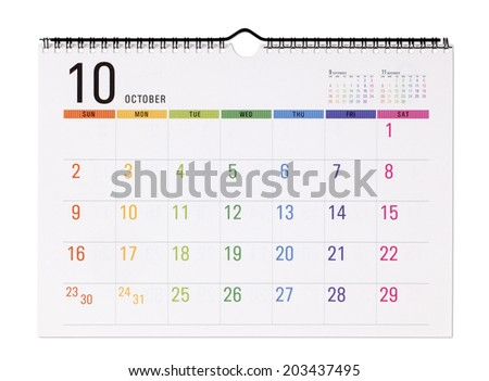 Colorful calendar.with clipping path /October - stock photo