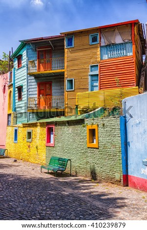 Colorful Caminito street in the La Boca neighborhood of Buenos Aires