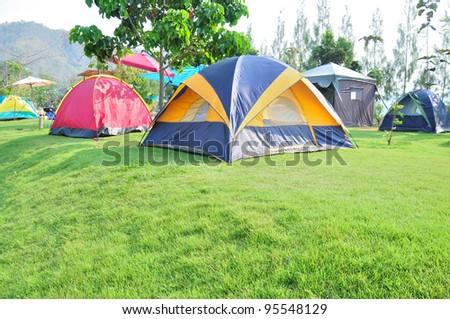 colorful campsite tent - stock photo
