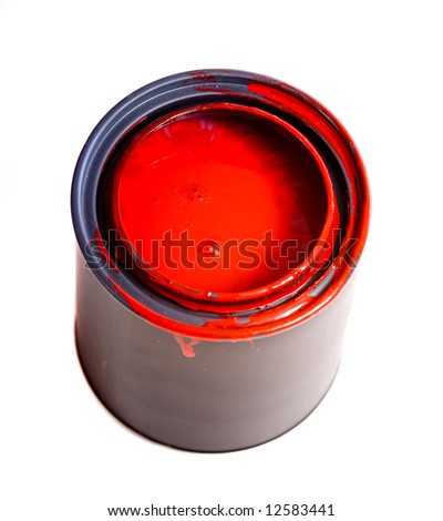 Colorful can of red paint on a white background  with space for copy etc.