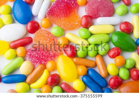 colorful candies and jellies as background - stock photo