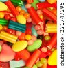 Colorful candies and sweets mixture. Filtered toned image.  - stock photo