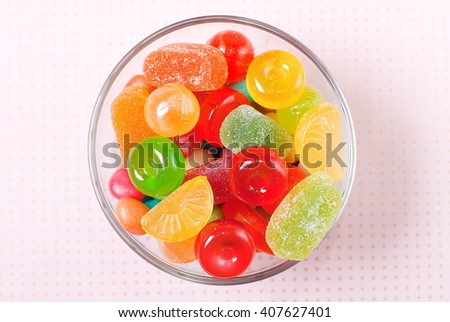 colorful candies in a bowl on a table