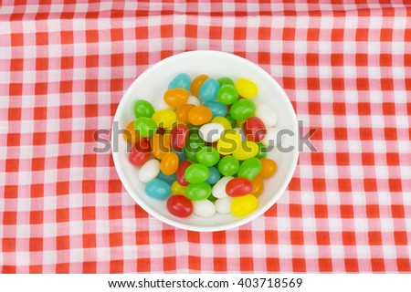 Colorful candies with shallow depth of field (dof)-diet and healthy teeth concept - stock photo
