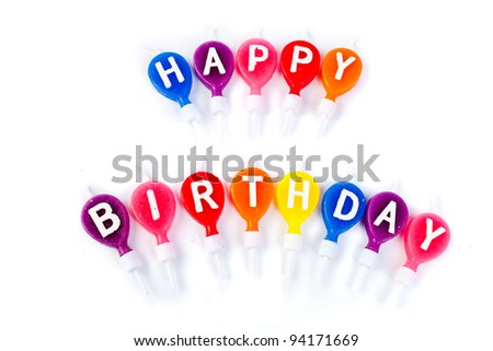 colorful candles happy birthday - stock photo