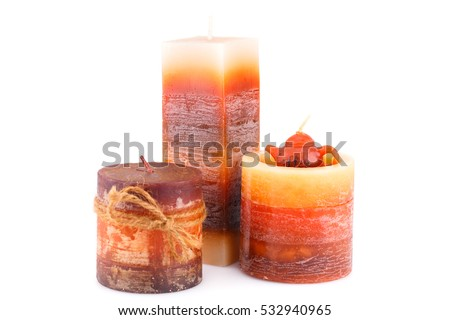 Colorful candles isolated on white background.