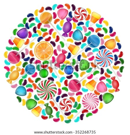 Colorful candy background with concept circle - stock photo