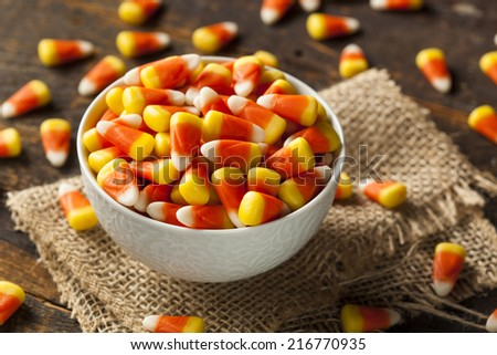 Colorful Candy Corn for Halloween on a Background - stock photo