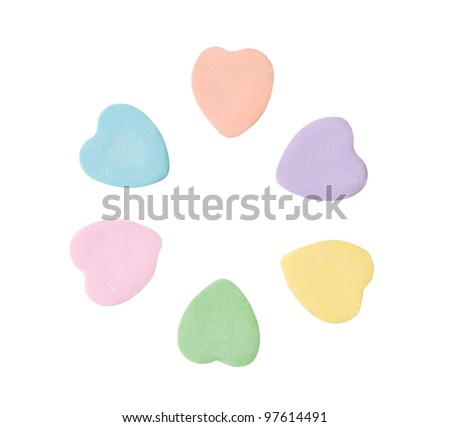 Colorful candy hearts isolated on white - stock photo