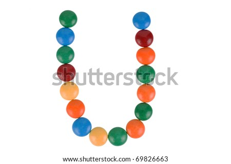 Colorful Candy Letter U - stock photo
