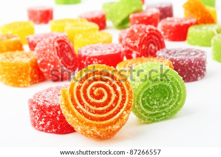 Colorful candy on white background. - stock photo