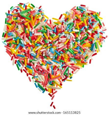 Colorful candy sprinkles heart shape isolated on white background - stock photo